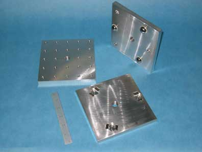KINEMATIC PLATFORM, TWO PIECE SET, 6X6 THREADED TOP PLATE AND 6X6 BASE PLATE
