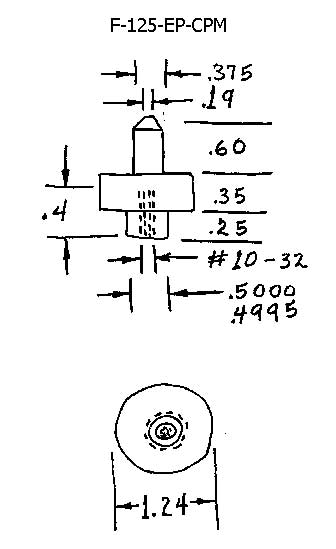 F-125-EP-CPM, Flat with Extended Post - Cylindrical Post Mounted