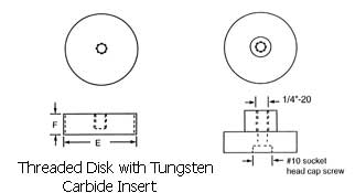 Threaded Disk with Tunsten Carbide Insert